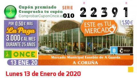 Cupón ONCE premiado el Lunes 13/1/2020
