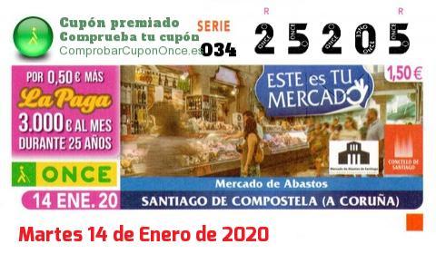 Cupón ONCE premiado el Martes 14/1/2020