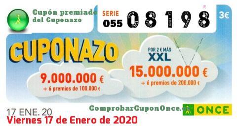 Cuponazo ONCE premiado el Viernes 17/1/2020