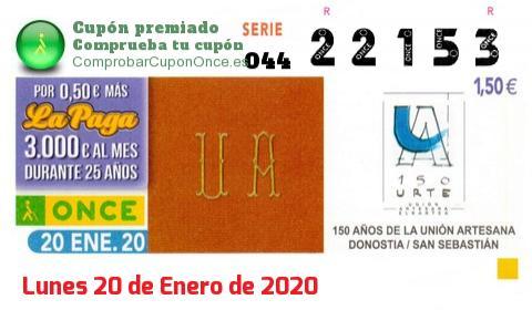 Cupón ONCE premiado el Lunes 20/1/2020