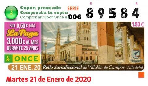 Cupón ONCE premiado el Martes 21/1/2020