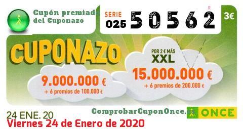 Cuponazo ONCE premiado el Viernes 24/1/2020