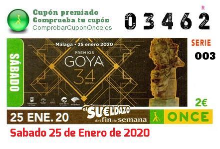Sueldazo ONCE premiado el Sabado 25/1/2020