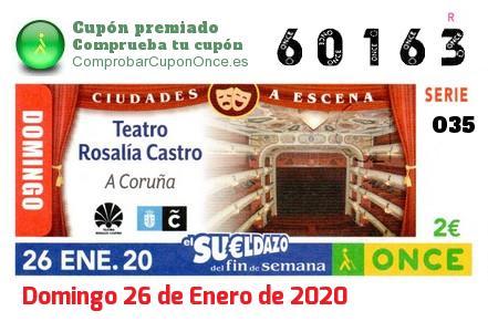 Sueldazo ONCE premiado el Domingo 26/1/2020