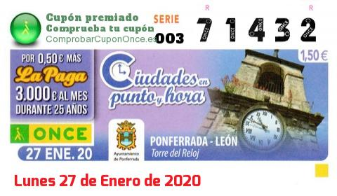 Cupón ONCE premiado el Lunes 27/1/2020