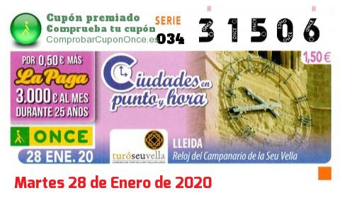 Cupón ONCE premiado el Martes 28/1/2020