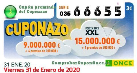 Cuponazo ONCE premiado el Viernes 31/1/2020