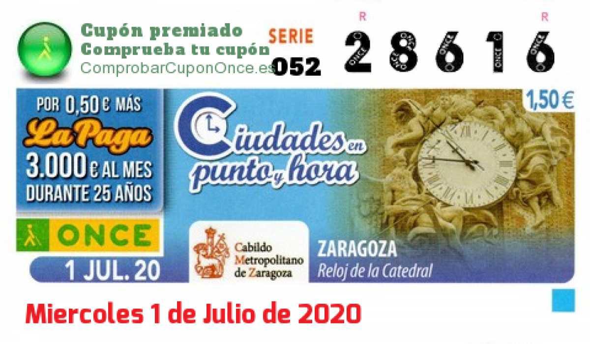 Cupón ONCE premiado el Miercoles 1/7/2020