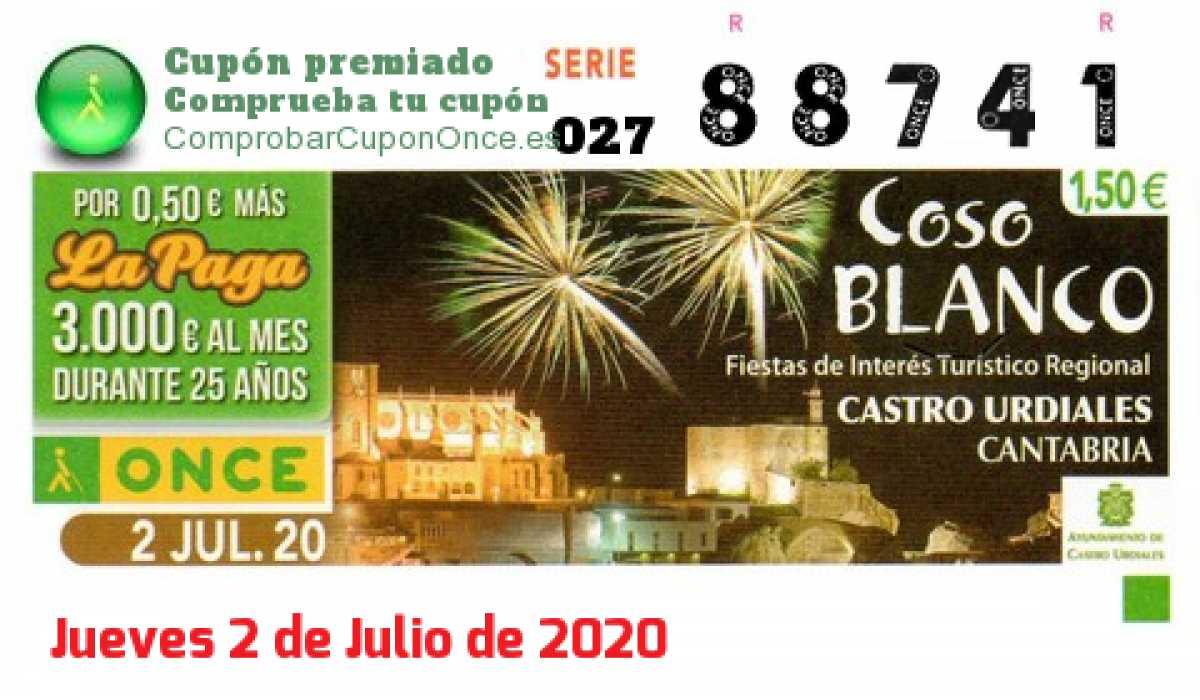 Cupón ONCE premiado el Jueves 2/7/2020