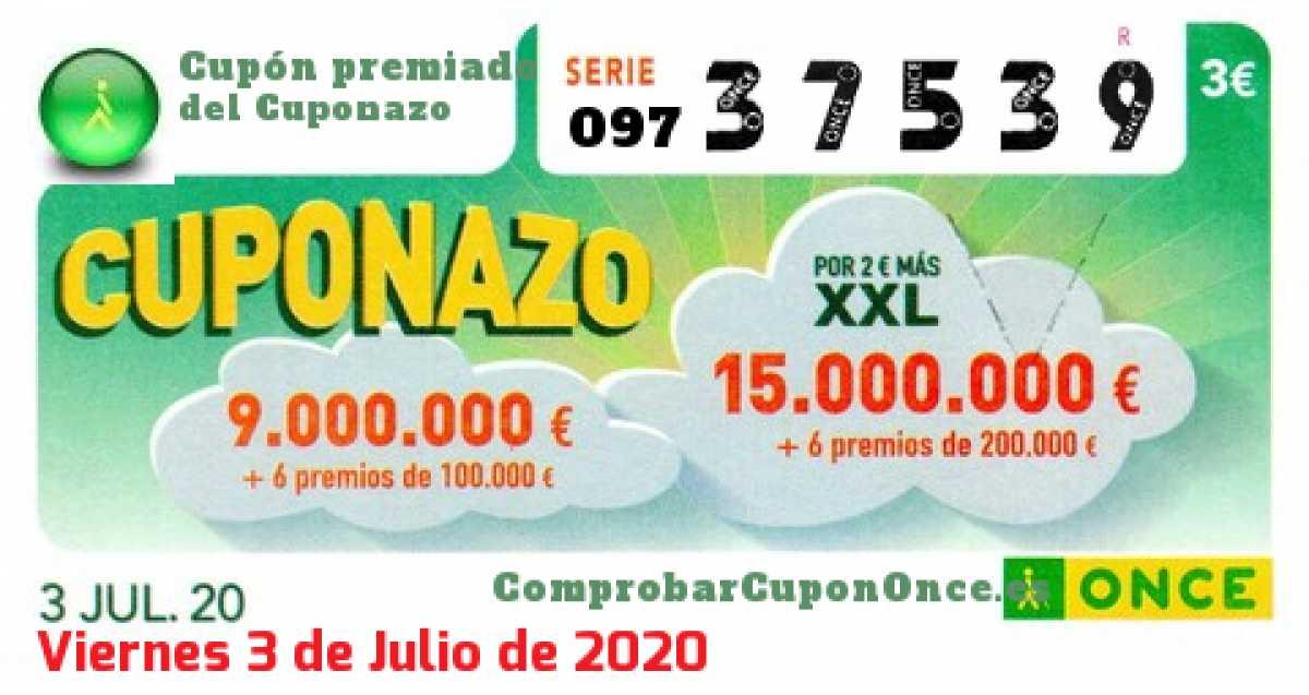 Cuponazo ONCE premiado el Viernes 3/7/2020