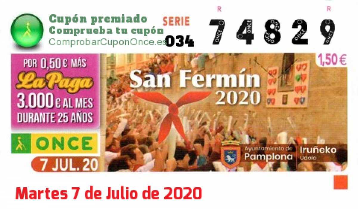 Cupón ONCE premiado el Martes 7/7/2020