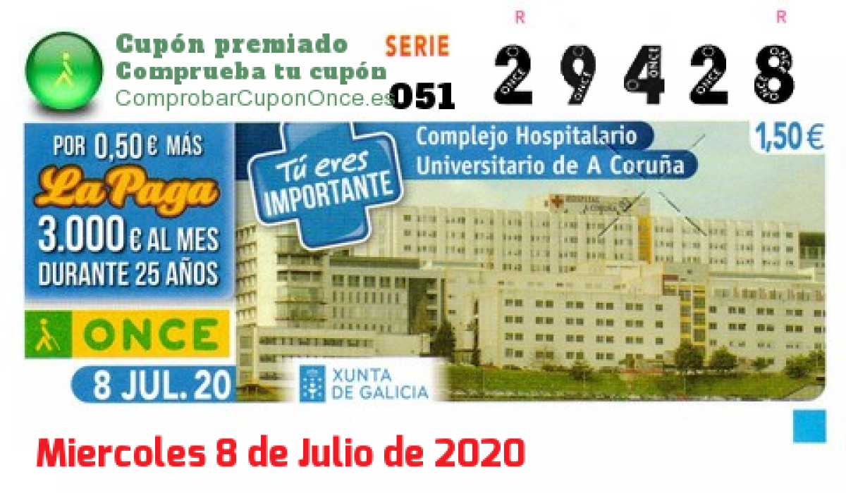 Cupón ONCE premiado el Miercoles 8/7/2020