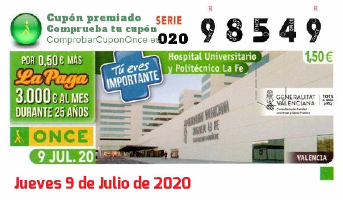 Cupón ONCE premiado el Jueves 9/7/2020