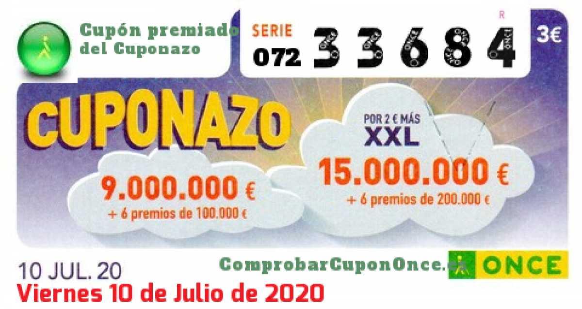 Cuponazo ONCE premiado el Viernes 10/7/2020