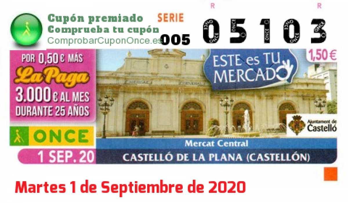 Cupón ONCE premiado el Martes 1/9/2020