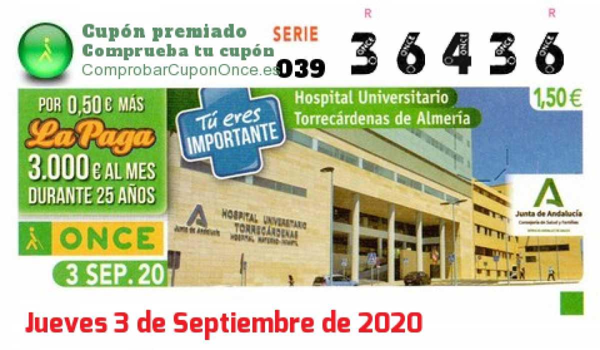 Cupón ONCE premiado el Jueves 3/9/2020