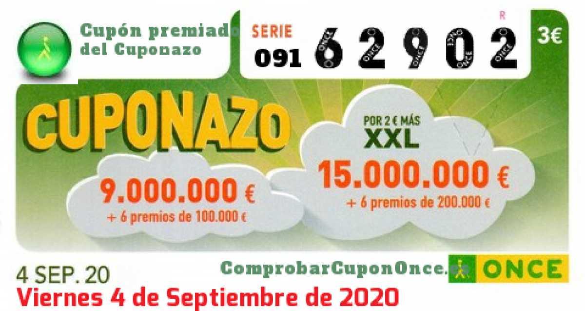 Cuponazo ONCE premiado el Viernes 4/9/2020