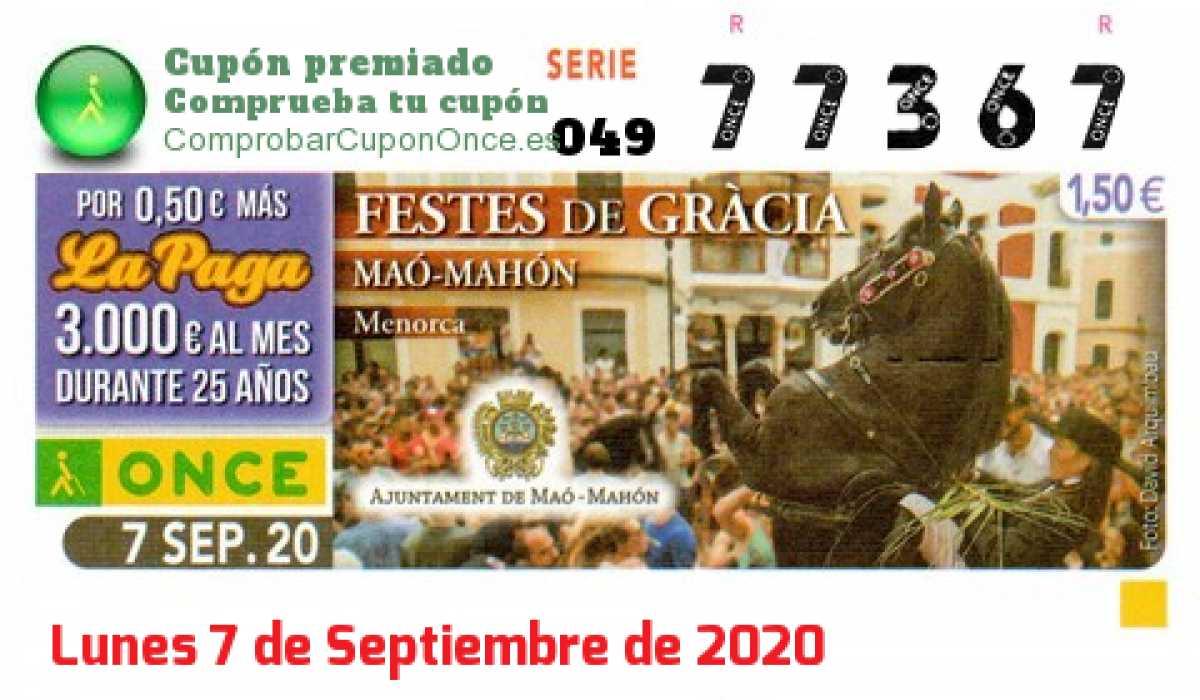 Cupón ONCE premiado el Lunes 7/9/2020
