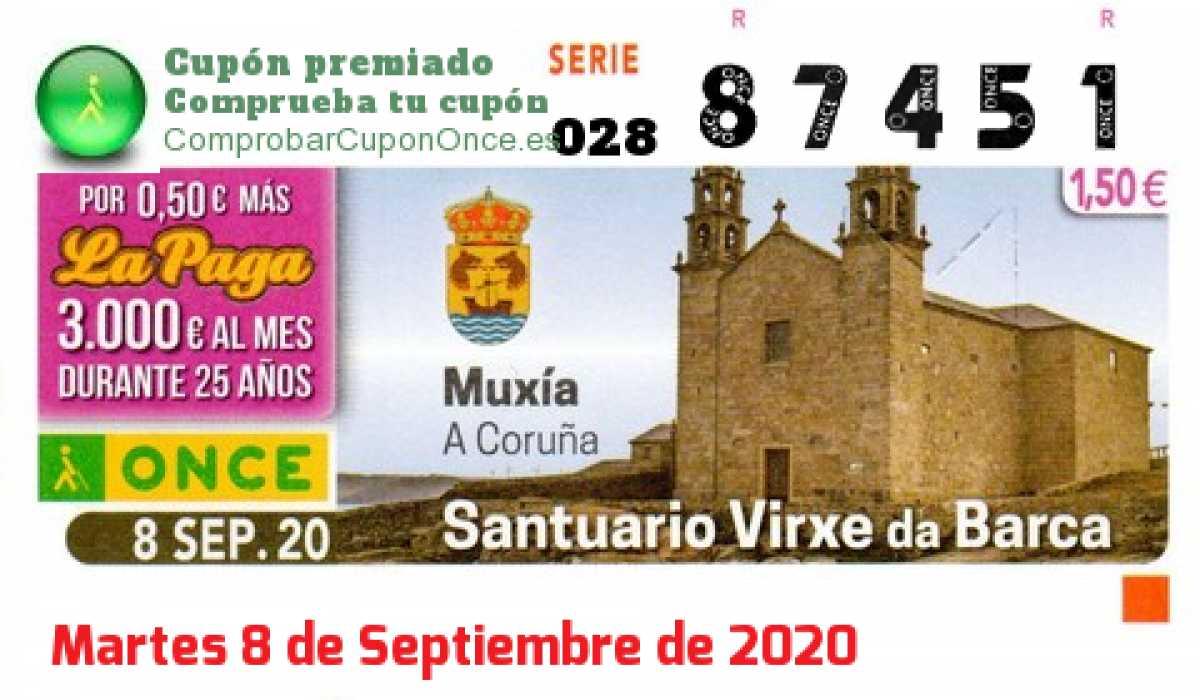 Cupón ONCE premiado el Martes 8/9/2020