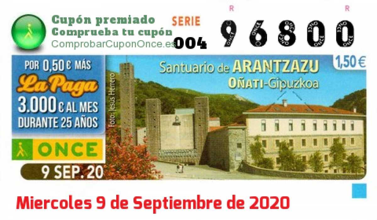 Cupón ONCE premiado el Miercoles 9/9/2020