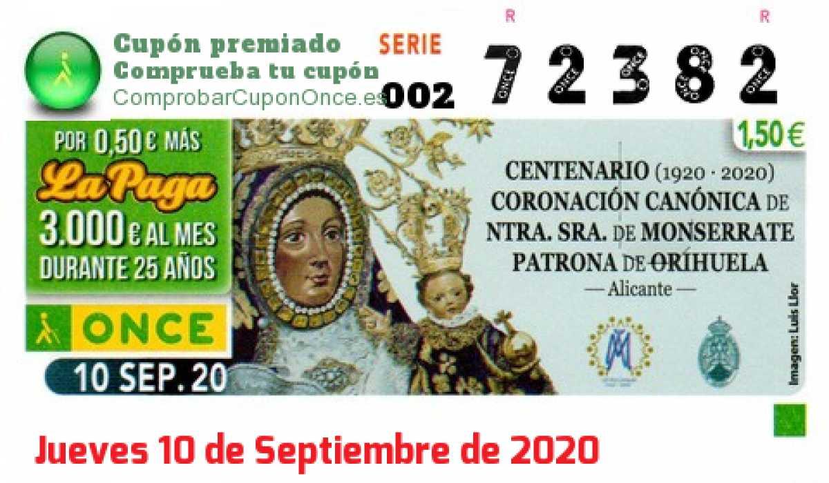 Cupón ONCE premiado el Jueves 10/9/2020