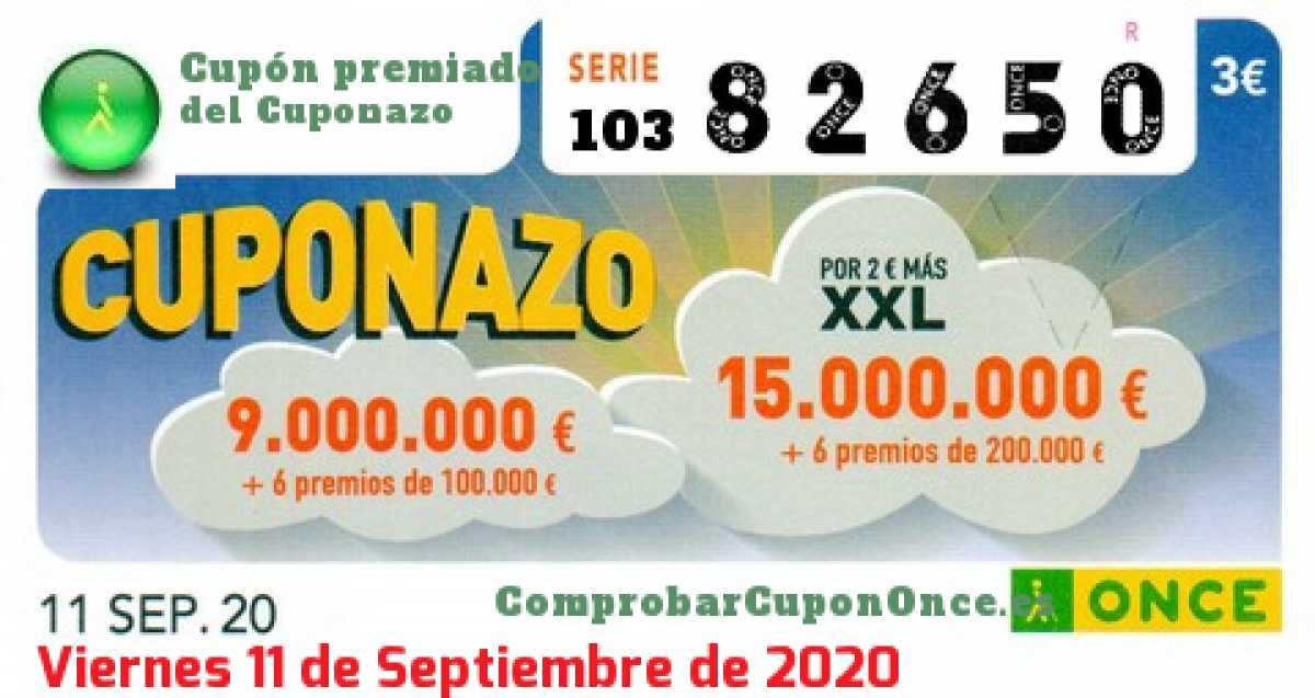 Cuponazo ONCE premiado el Viernes 11/9/2020