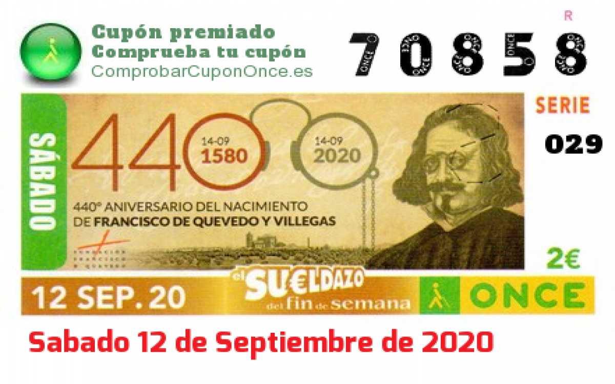 Sueldazo ONCE premiado el Sabado 12/9/2020