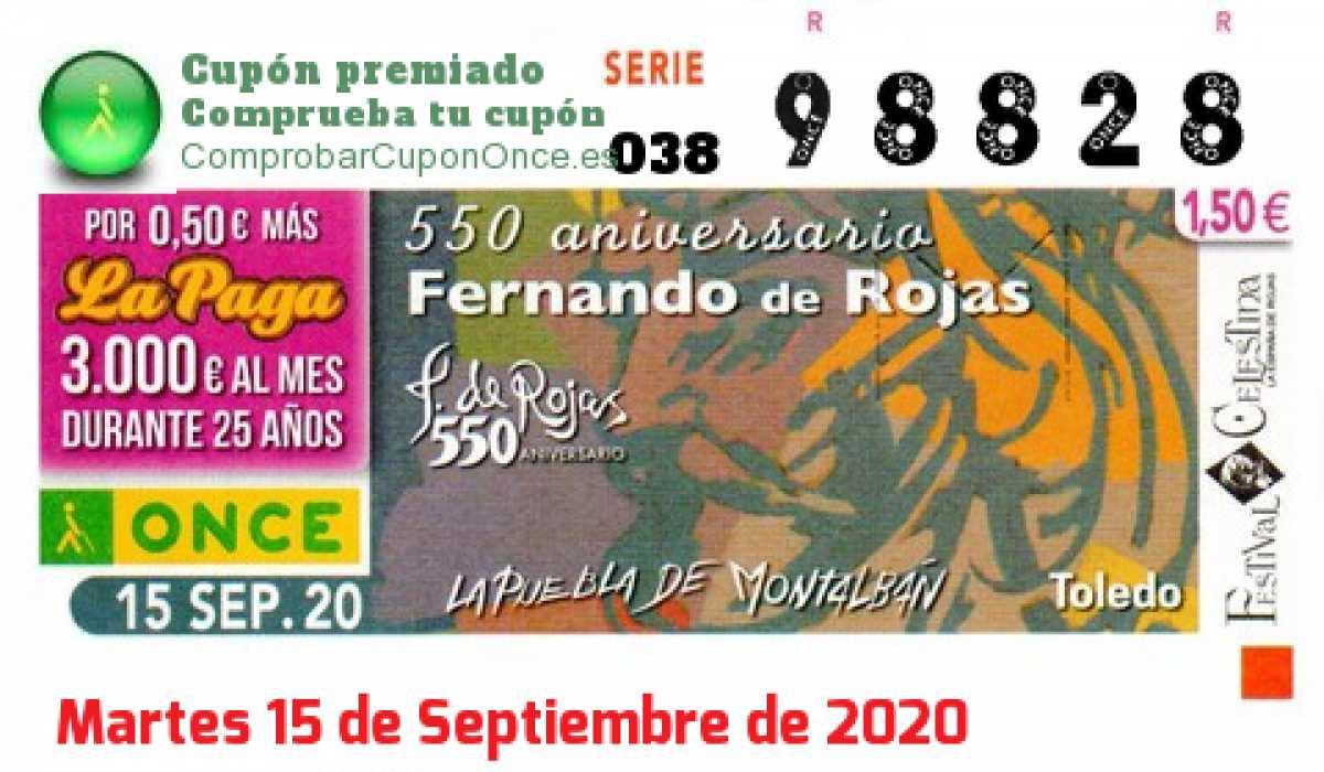 Cupón ONCE premiado el Martes 15/9/2020