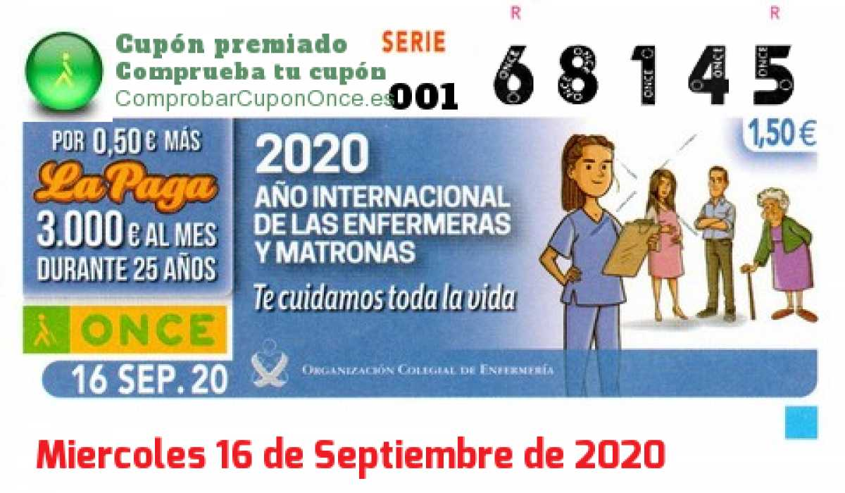 Cupón ONCE premiado el Miercoles 16/9/2020