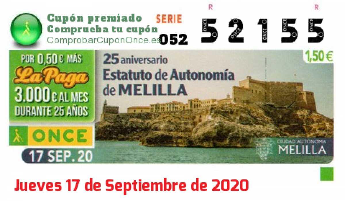 Cupón ONCE premiado el Jueves 17/9/2020