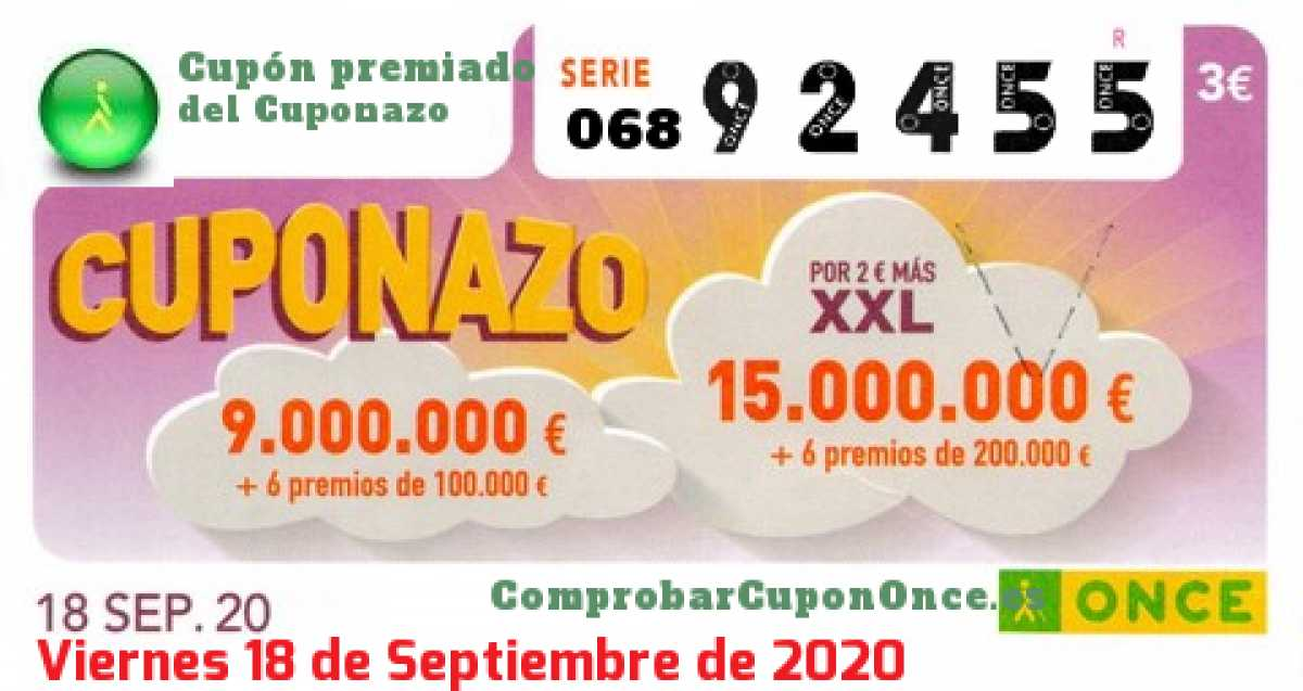 Cuponazo ONCE premiado el Viernes 18/9/2020
