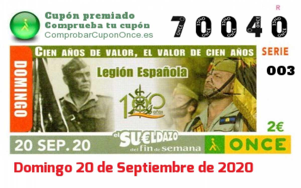 Sueldazo ONCE premiado el Domingo 20/9/2020