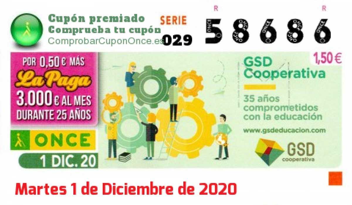 Cupón ONCE premiado el Martes 1/12/2020