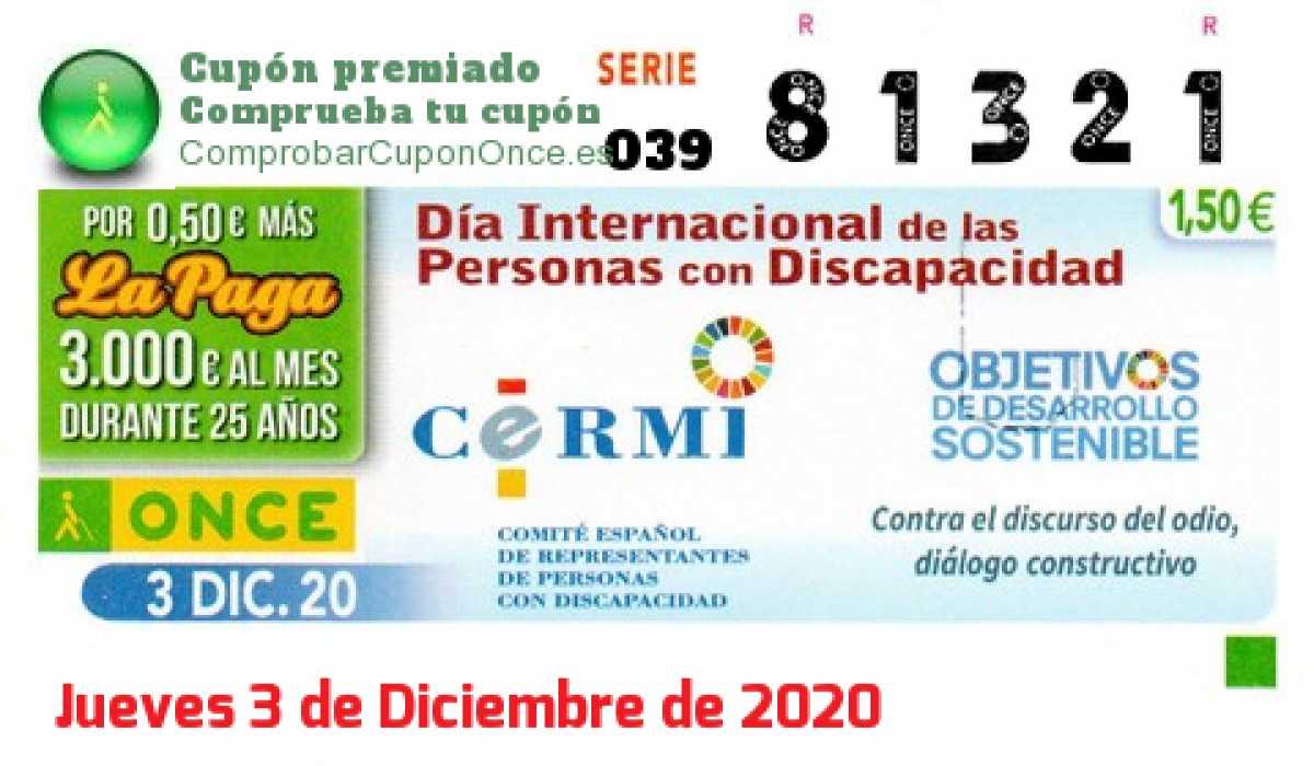 Cupón ONCE premiado el Jueves 3/12/2020