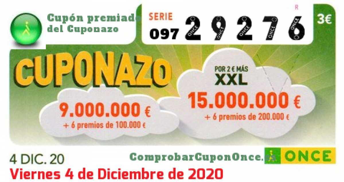 Cuponazo ONCE premiado el Viernes 4/12/2020