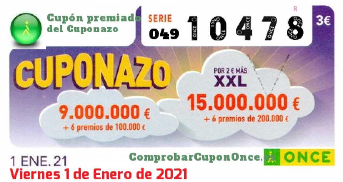 Cuponazo ONCE premiado el Viernes 1/1/2021