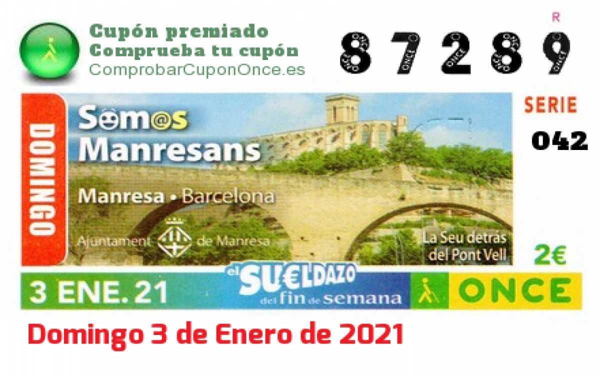 Sueldazo ONCE premiado el Domingo 3/1/2021