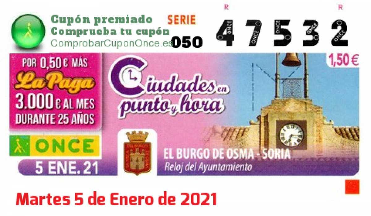 Cupón ONCE premiado el Martes 5/1/2021