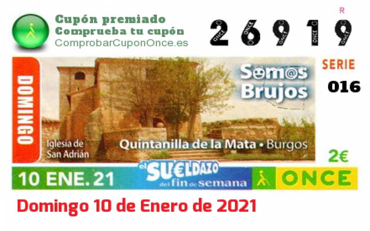 Sueldazo ONCE premiado el Domingo 10/1/2021