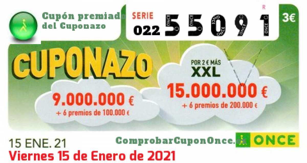 Cuponazo ONCE premiado el Viernes 15/1/2021