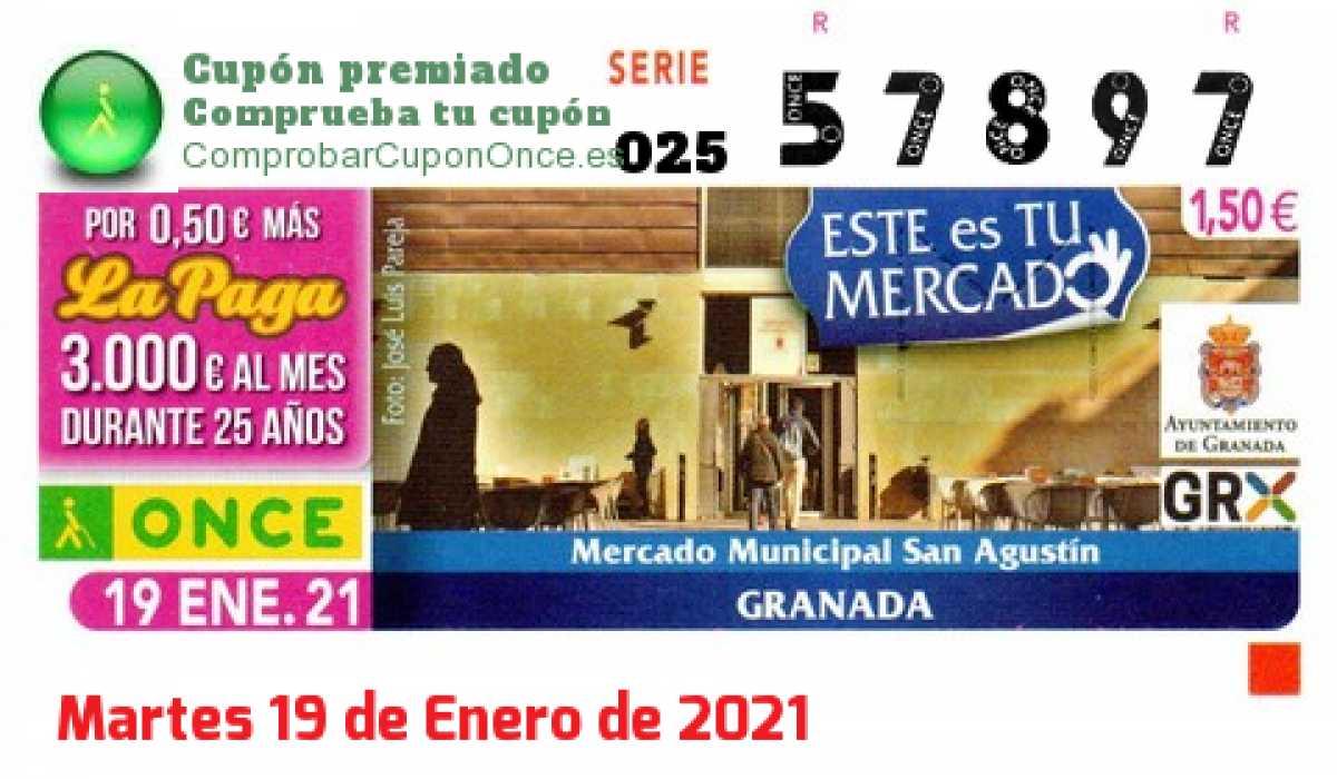 Cupón ONCE premiado el Martes 19/1/2021