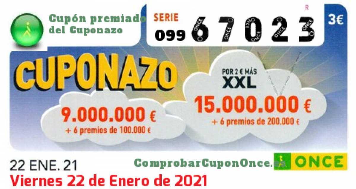 Cuponazo ONCE premiado el Viernes 22/1/2021