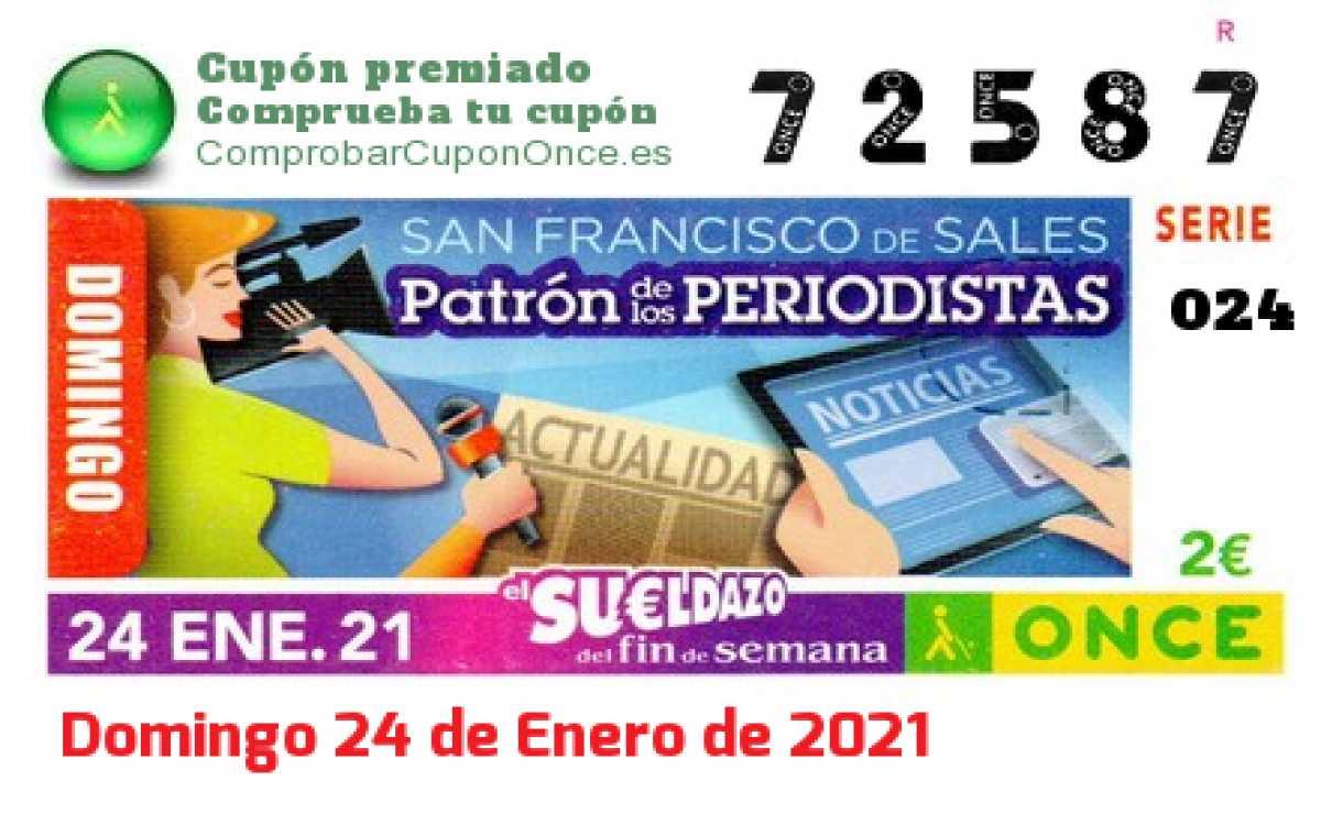 Sueldazo ONCE premiado el Domingo 24/1/2021