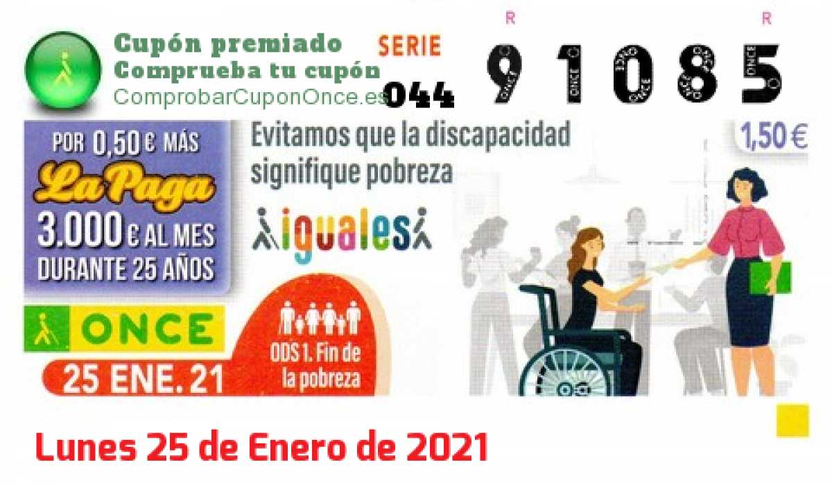 Cupón ONCE premiado el Lunes 25/1/2021