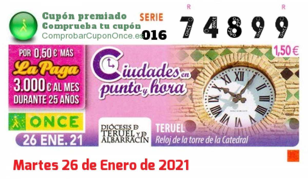 Cupón ONCE premiado el Martes 26/1/2021