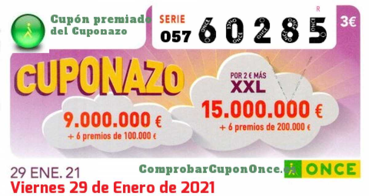 Cuponazo ONCE premiado el Viernes 29/1/2021