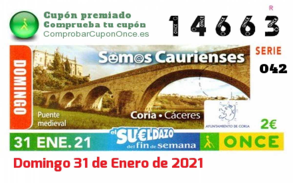 Sueldazo ONCE premiado el Domingo 31/1/2021