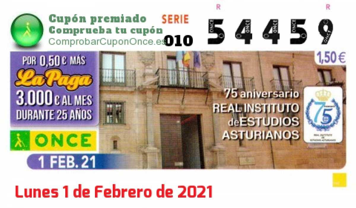 Cupón ONCE premiado el Lunes 1/2/2021