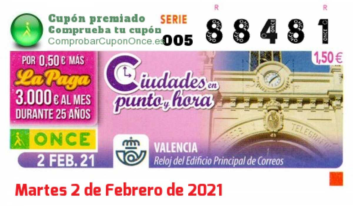 Cupón ONCE premiado el Martes 2/2/2021