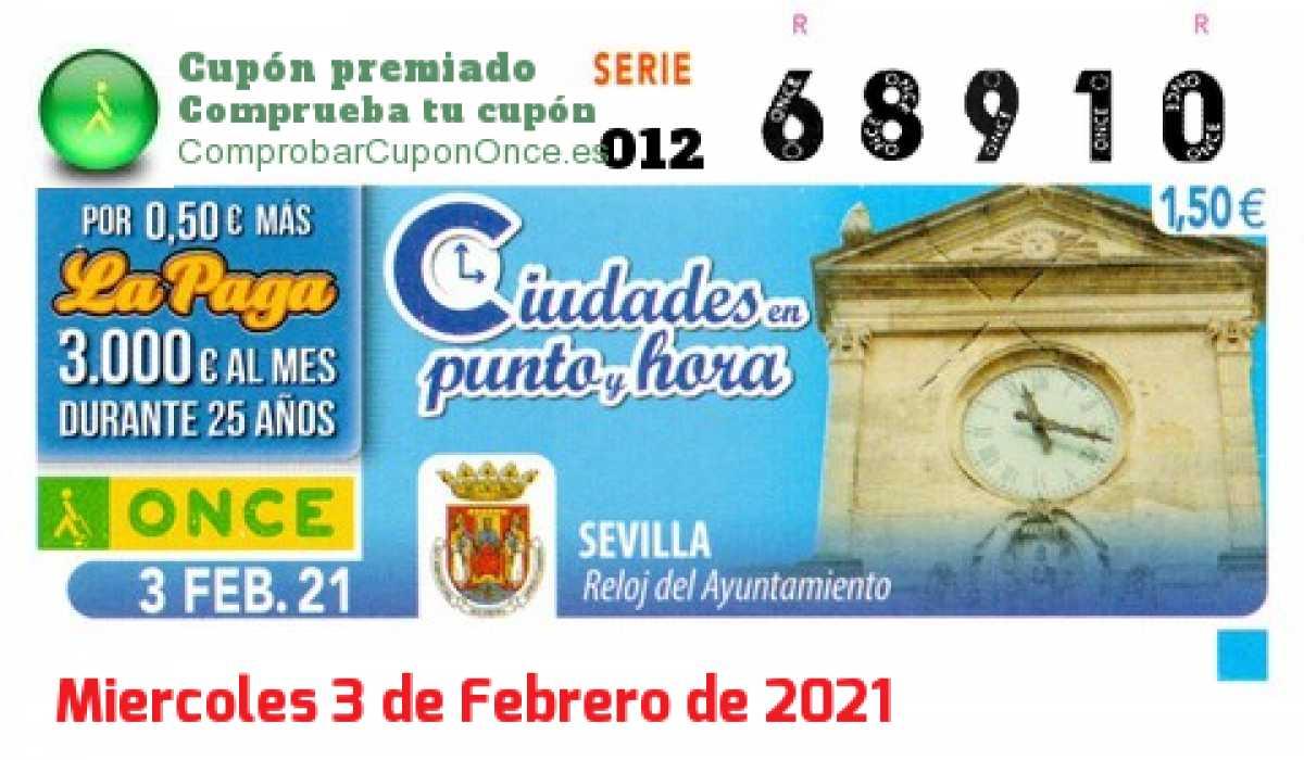Cupón ONCE premiado el Miercoles 3/2/2021